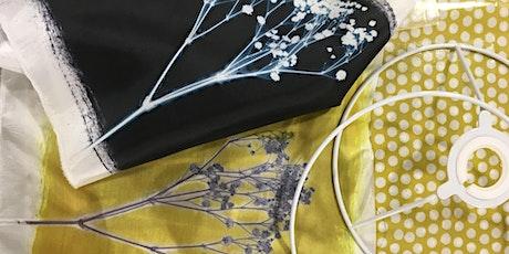 Paper cloth, prints & plants. Creative mixed media textile Lampshades. tickets