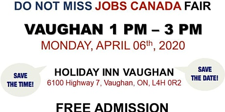Vaughan Job Fair - April 6th, 2020 tickets