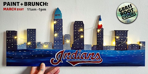 Cleveland Indians {Light Up} Skyline | Paint + Brunch