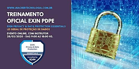 Treinamento para a Lei Geral de Proteção de Dados - LGPD - EXIN PDPE bilhetes