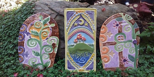 Intro to hand build pottery for kids - Fairy & Elf Tree Stump doors