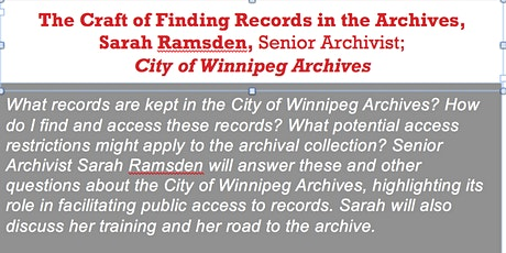 The Craft of Finding Records in the Archives, Sarah Ramsden, Archivist tickets