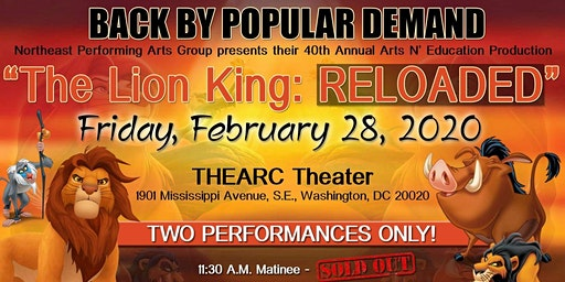 "Northeast Performing Arts Group presents ""The Lion King:RELOADED"""