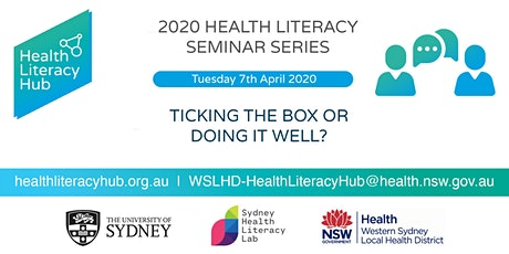 2020 Health Literacy Seminar 1: Consumer Engagement: Ticking the box or doing it well? tickets