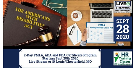 2-Day FMLA, ADA and PDA Certificate Program (Starts 9/28/2020) tickets