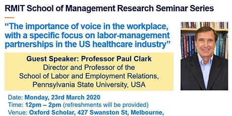 Research Seminar: The importance of voice in the workplace, with a specific focus on labor-management partnerships in the US healthcare industry tickets