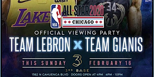 """Sunday Funday @ 3rd Base: NBA All-Star Game Viewing Party Party 180"""" screen"""