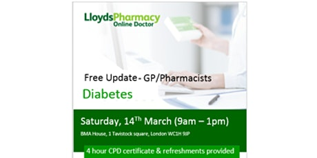 Free - Diabetes Update GPs and Pharmacists tickets