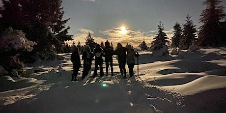 Balade en raquettes à neige coucher du soleil au sommet : la Tête des Faux billets