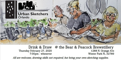 Urban Sketchers Drink & Draw  @ the Bear & Peacock Brewstillery