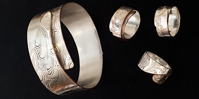 Reclaimed Silverplate Bangle and Ring Susan Deiter