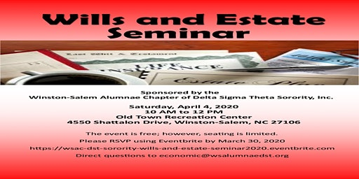 Winston-Salem Alumnae Chapter DST  Sorority, Inc. Wills & Estates Seminar