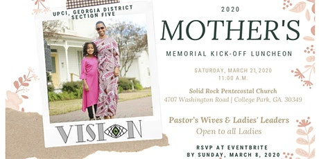 VISION 2020  MOTHER'S MEMORIAL KICK-OFF LUNCHEON tickets