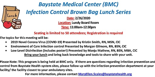 Baystate Medical Center (BMC) Infection Control Brown Bag Lunch Series