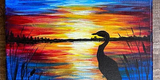 Crane and Sunset-Canvas Paint Night