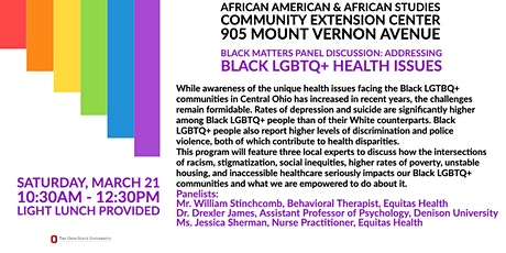 BLACK MATTERS Panel Discussion:  Addressing Black LGBTQ+ Health Issues tickets