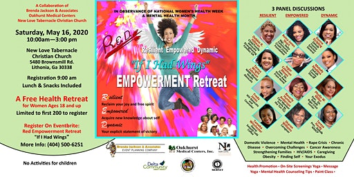 """Red Empowerment Retreat """"If I Had Wings"""" Free Women's Health & Wellbeing Event"""