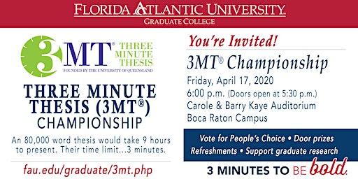 FAU's 4th Annual Three Minute Thesis (3MT®) Championship