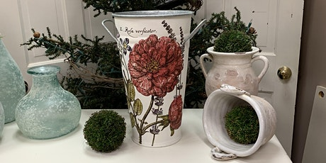 French pot with a floral design transfer. tickets
