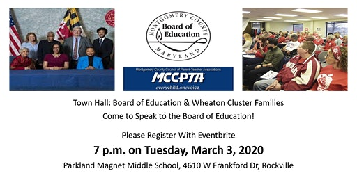 Town Hall: Board of Education & Wheaton Cluster Families