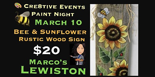 $20 Bee & Sunflower Rustic Wood Sign @ Marcos Lewiston