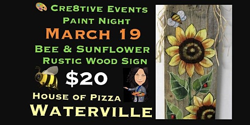 $20 Paint Night - Bee & Sunflower Rustic Wood Sign @ WHOP