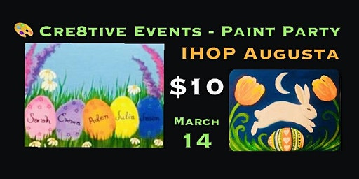 $10 Kiddos in adults paint party at IHOP in Augusta
