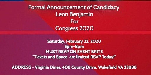 Formal Announcement for Candidacy in  Virginia - 4 Congressional District