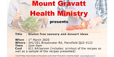 Gluten free savoury and dessert ideas tickets