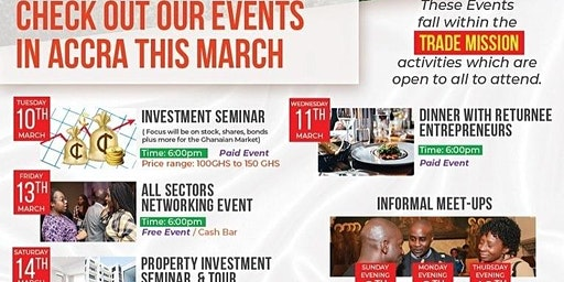 Business &  Investment Events in Accra (7-14 March 2020)