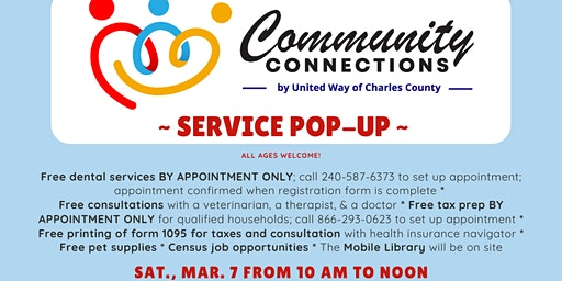 March 7 Community Connection Service Pop-Up in Bryans Road