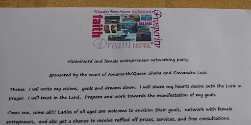 Visionboard and female entrepreneur networking party