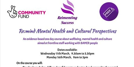 Re:mind Mental Health and Cultural Perspectives Monday 16th March tickets