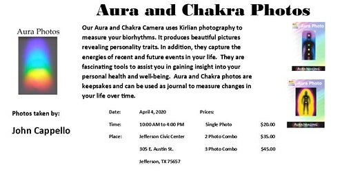 Aura and Chakra Photos in Jefferson, Texas