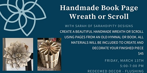 Handmade Book Page Wreath or Scroll