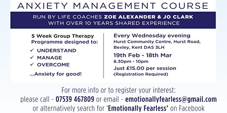 Anxiety Management 5 wk Group Programme  run by Emotionally Fearless tickets