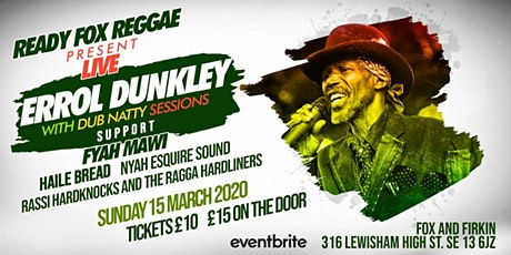 Errol Dunkley Reggae legend live in London tickets
