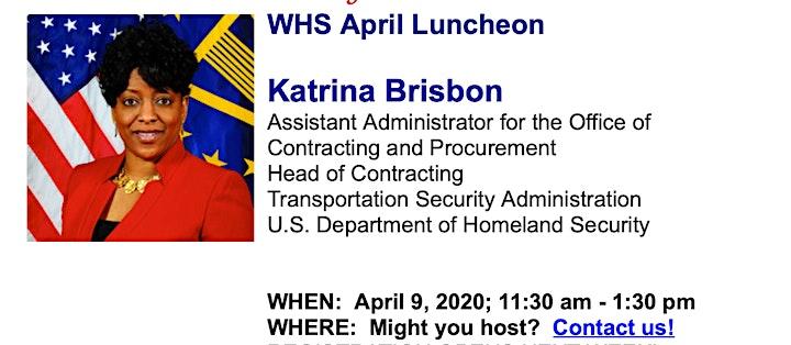 POSTPONED: April Luncheon with Katrina Brisbon, TSA image