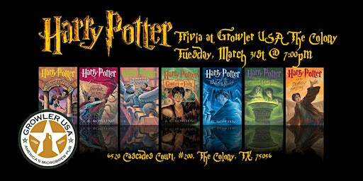 Harry Potter Books Trivia at Growler USA The Colony