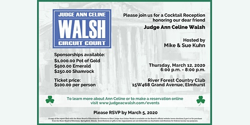Cocktail Reception Honoring Judge Ann Celine Walsh by Mike & Sue Kuhn