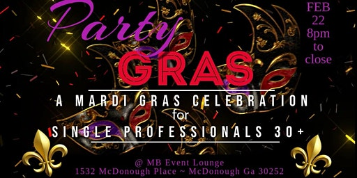 Mardi Gras Meet & Mingle Singles Party at MB Event Lounge