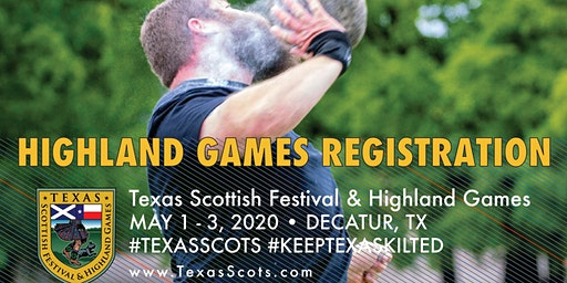 2020 Athletic Registration for the Texas Scottish Festival Highland Games