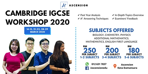CAMBRIDGE IGCSE WORKSHOP for SCIENCE, MATHEMATICS & ENGLISH FIRST LANGUAGE