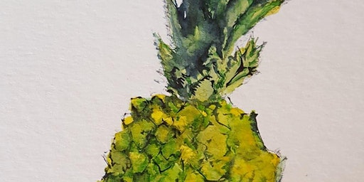 Learn how to paint a pineapple in watercolor with Mathieu Hébert (EN)