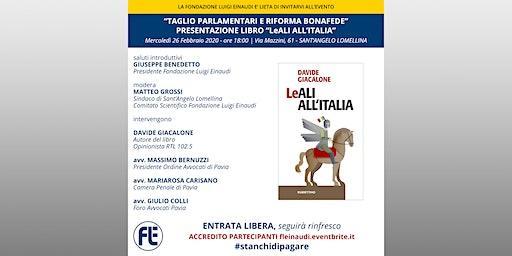 """""""Taglio dei Parlamentari e riforma Bonafede"""". Presentazione libro LeALI ITA"""