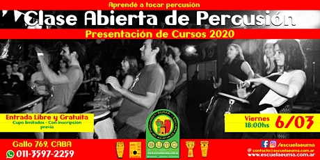 Clase Abierta de Percusión - Escuela EUMA - Presentación Cursos 2020 entradas