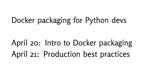 Docker packaging for Python developers