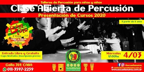 Clase Abierta y Gratuita de Percusión para Niños y Niñas - Presentación Cursos 2020 entradas