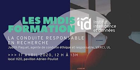 Midis-Formation de l'IID : La conduite responsable en recherche billets