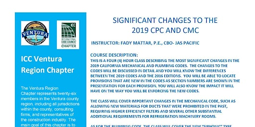 SIGNIFICANT CHANGES TO THE  2019 CPC AND CMC- AM SESSION